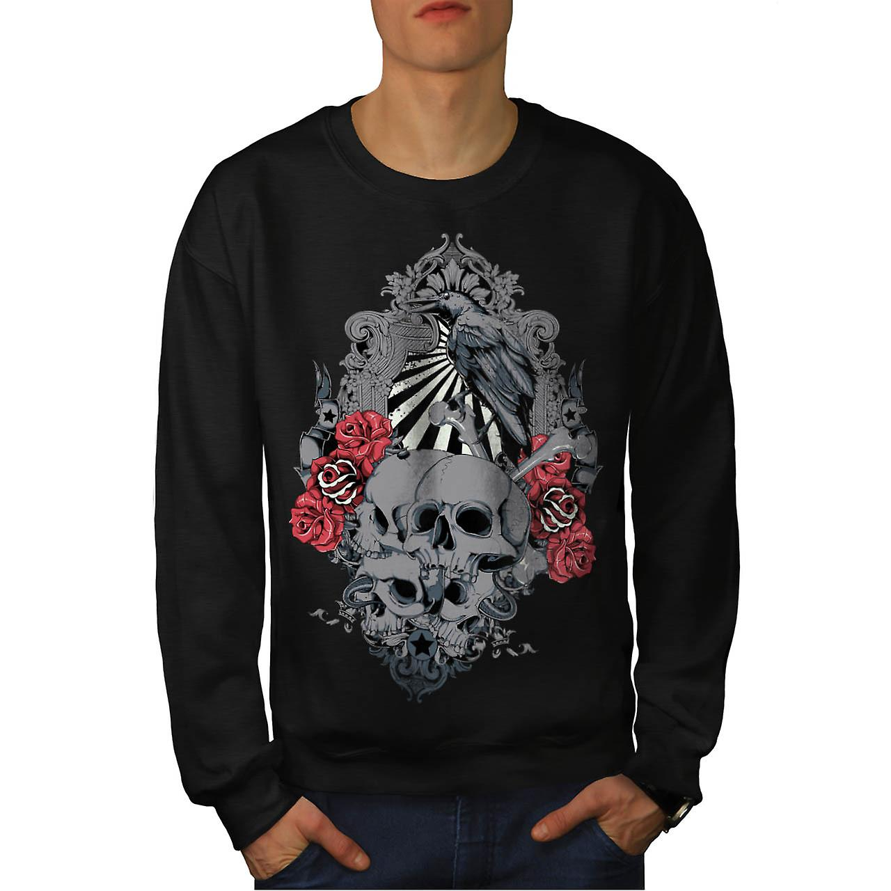 Death Skull Cemetery Burial Land Men Black Sweatshirt | Wellcoda