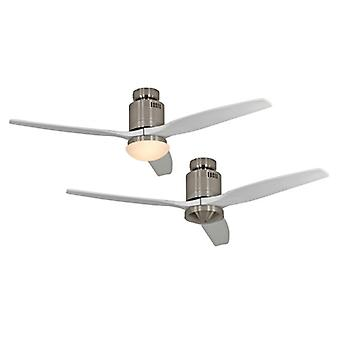 Ceiling Fan Aerodynamix brushed chrome / white with and without light