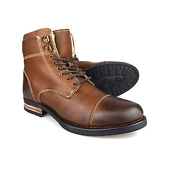 Silver Street Stanley Brown Leather Casual Mens Military Boots