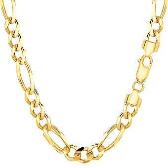 10k Yellow Solid Gold Figaro Chain Bracelet, 6.0mm, 8.5