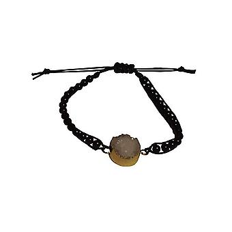 Minimalist natural stone statement bracelet black