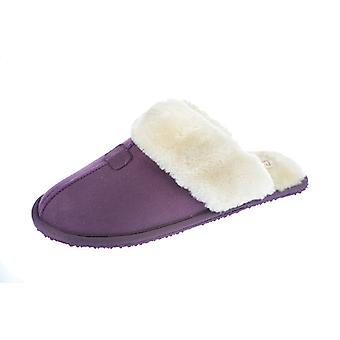 Ladies New Cooler Brand MicroSuede Mule With Warm Soft Faux Fur Lining Slipper