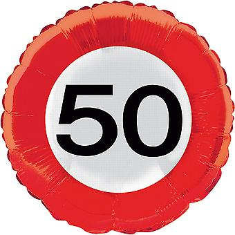 Foil balloon traffic sign number 50 birthday helium balloon party