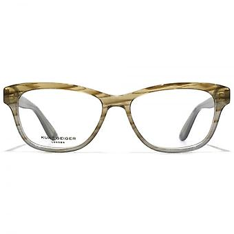 Kurt Geiger Eliza Preppy Soft Rectangular Acetate Glasses In Crystal Grey To Brown Horn Gradient