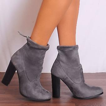 Shoe Closet Ankle Boots - Ladies Grey Dn3 Faux Suede High Heels Ankle Boots