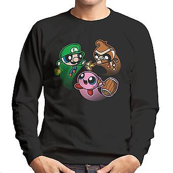 Super sopro Bros Pikachu Bowser Ness camisola homens