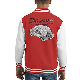 Haynes Workshop Manual Fiat 500 Black Kid's Varsity Jacket