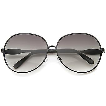 Womens Glam Full Metal Frame Oversized Round Sunglasses 63mm