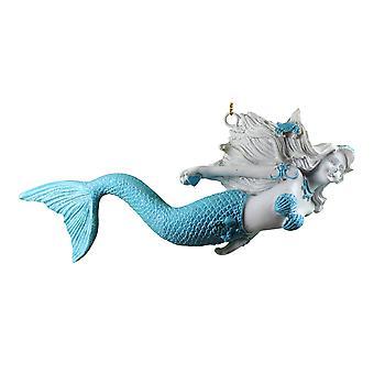Swim Like a Mermaid Christmas Holiday Ornament Resin 7.75 Inches