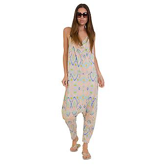 Jersey Jumpsuit - Aztec Peach Lightweight Harem Pants Stretch Relaxed Fit Playsu