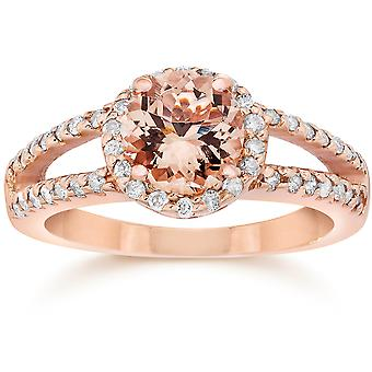 1.65CT Morganite & Diamond Split Shank Halo Ring 14K Rose Gold