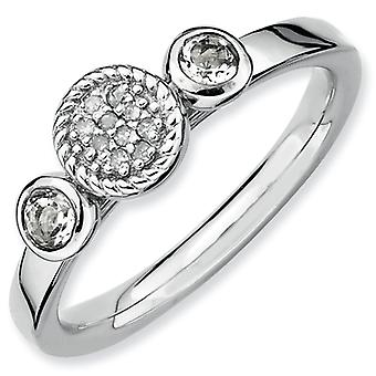 Sterling Silver Bezel Polished Prong set Rhodium-plated Stackable Expressions Db Round White Topaz and Dia. Ring - Ring
