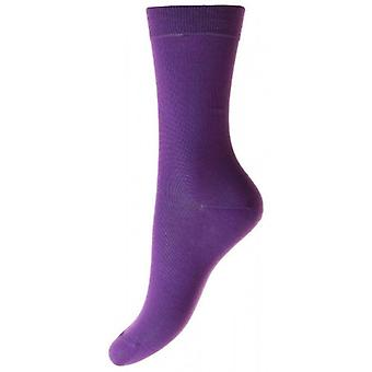Pantherella Poppy Flat Knit Cotton Ankle Socks - Crocus Purple