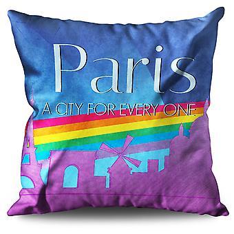 Pride Urban Love Paris Linen Cushion Pride Urban Love Paris | Wellcoda