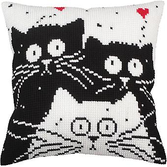 Collection D'art Stamped Needlepoint Cushion Kit 40x40cm-White Cat CD5255