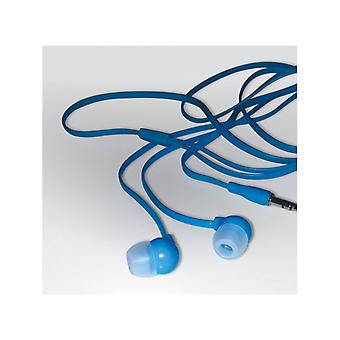 Headphones with microphone, blue-yellow color quality (Tangle free earphones)