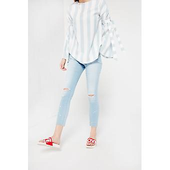Articles Of Society Light Blue Distressed Skinny Cropped Jeans