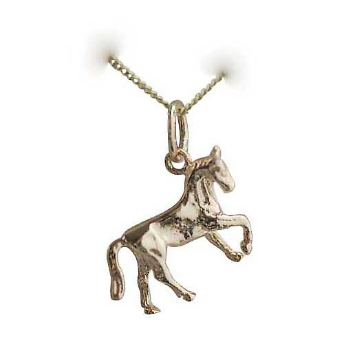 9ct Gold 12x15mm Horse standing lifting a front hoof Charm with a curb Chain 16 inches Only Suitable for Children