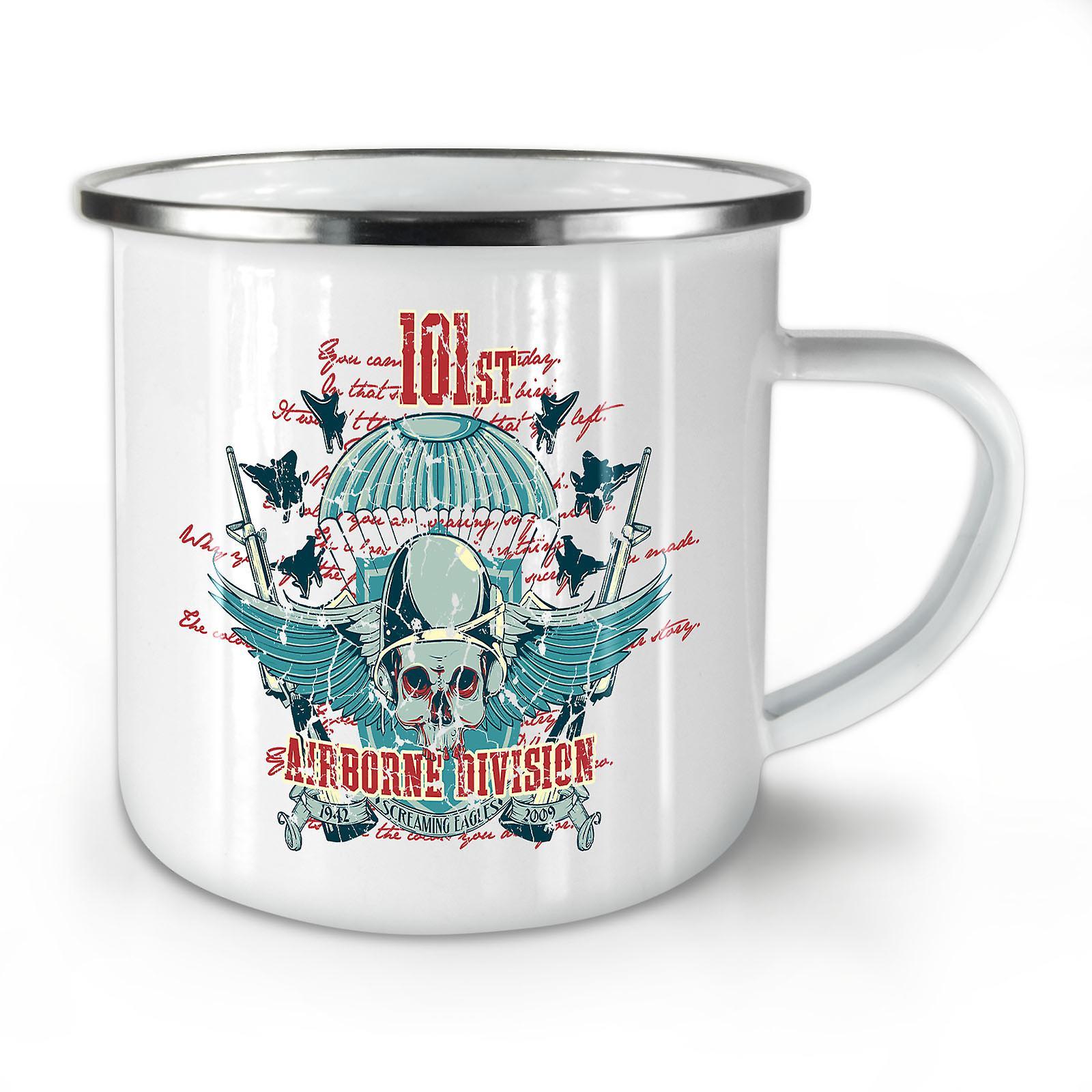 Aéroportée Café OzWellcoda Mug10 Division Crâne Nouveau Émail Whitetea bYeDH2IWE9