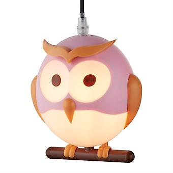 Pink Novelty Children's Owl Pendant - Searchlight 0113pi