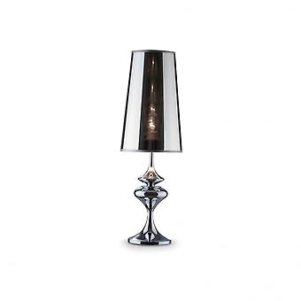 Ideal Lux Alfiere Modern Smoked Finish Table Lamp With Semi-Trans Lamp Shade