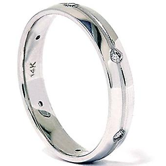Mens 14K White Gold Comfort Fit Diamond Wedding Band
