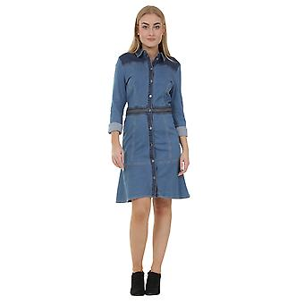 Long Sleeve Button Front Denim Dress Jean Dress with stretch