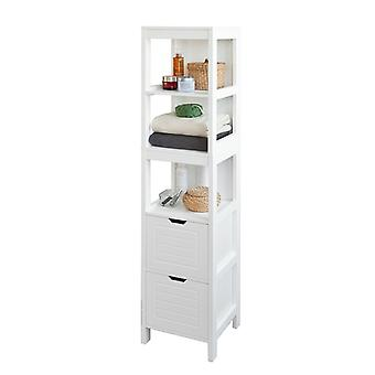 SoBuy Tall Bathroom Storage Cabinet with 3 Shelves and 2 Drawers FRG126-W
