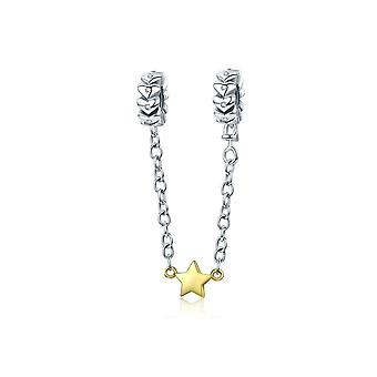 Sterling silver safety chain Hearts with gold plated star SCC603