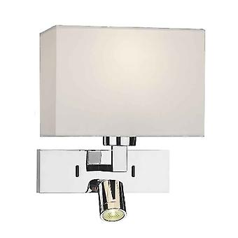 Dar Lighting Mode Rectangluar Polished Chrome Wall Light With LED Reader Light