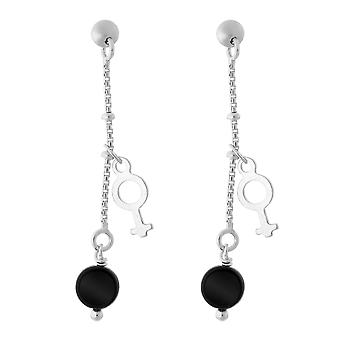 Orphelia Silber 925 Tropfen Ohrring Rond Zwart ZO-5550