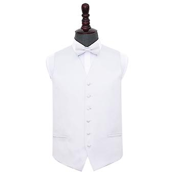 White Plain Satin Wedding Waistcoat & Bow Tie Set