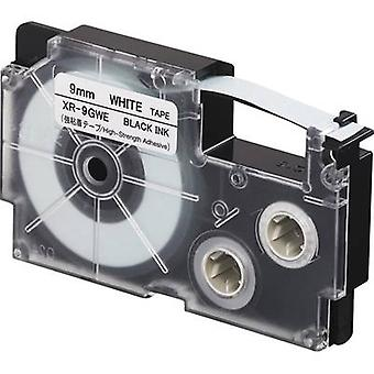Etiquetado color Casio XR XR-9GWE cinta de cinta (pegamento extra fuerte): blanca Font color: negro 9 mm 5,5 m