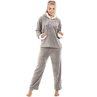 Camille Womens Ladies lusso SuperSoft in pile con cappuccio grigio pigiama Set Size 10-20
