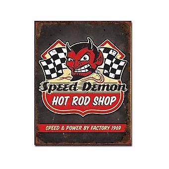 Velocidad demonio Hot Rod Shop muestra del Metal
