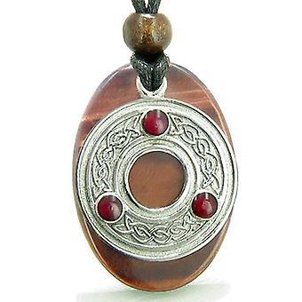 Amulett keltisches Triquetra Schutz Knoten rot Tiger Eye Glück bösen Blick Schutz Anhänger Halskette
