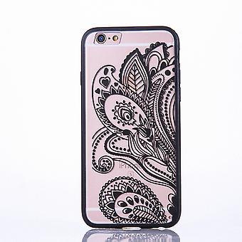 Mandala di Mobile Shell per Samsung Galaxy S6 design Custodia cover motivo fiore copertura caso paraurti nero