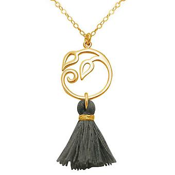 Pendant 925 Silver - gold plated ladies - necklace - 45 cm - grape leaves - YOGA tassel - grey --