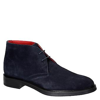 Blue suede leather men's chukka boots made in Italy