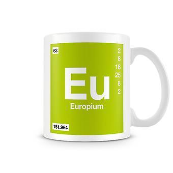 Scientific Printed Mug Featuring Element Symbol 063 Eu - Europium