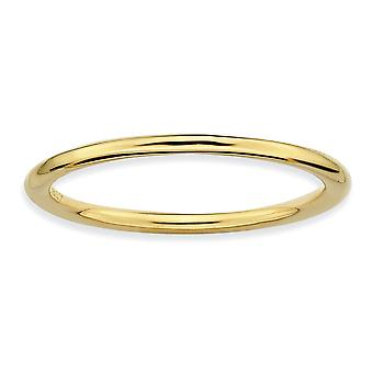Anello dell'argento sterlina impilabile espressioni balenò oro lucido - formato dell'anello: 5-10