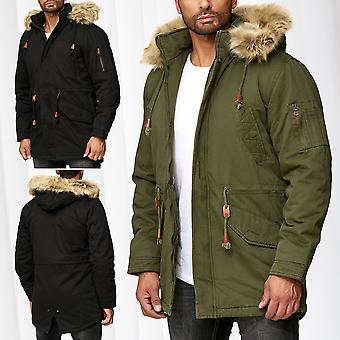 dbd80ed281d6 Mens Parka Winter Jacket Coat Lined Jacket Fur Hood Fake Fur Outdoor