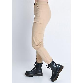 Cargo utilitaire taille haute pantalon Beige