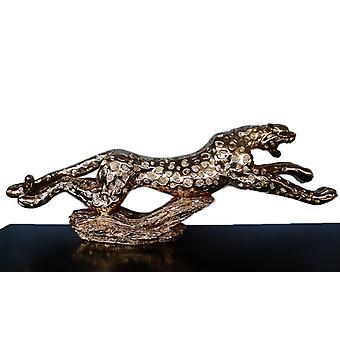 Leopard in gold, the sculpture 134x30x16 cm