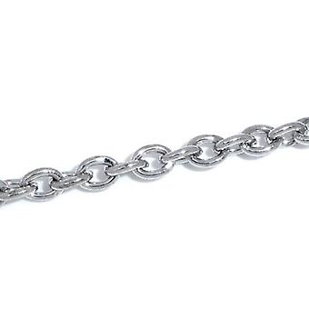 5m x Silver Tone Anti Tarnish Metal Alloy 3 x 4mm Open Cable Chain CH1150