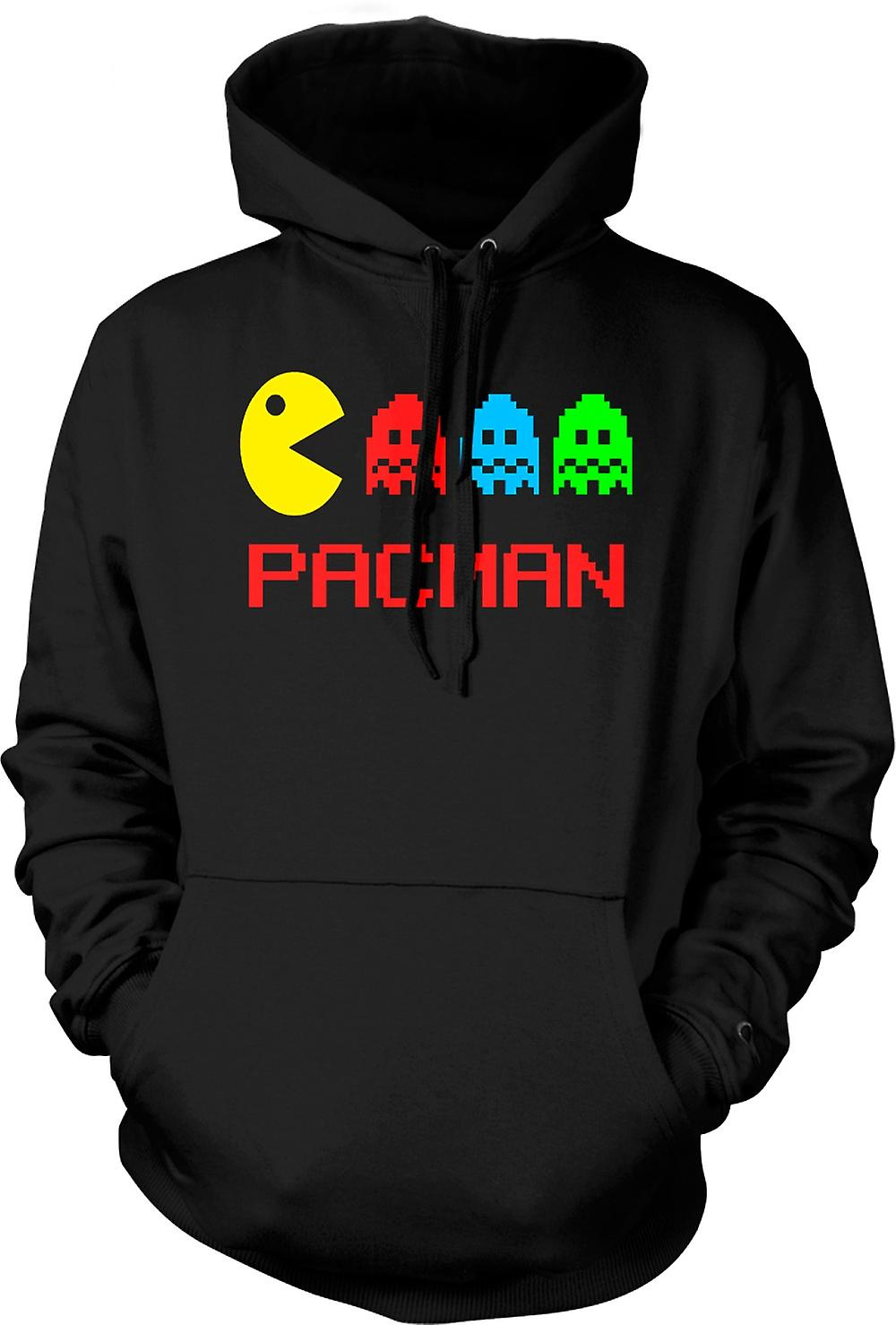 Mens Hoodie - Pacman - Retro - Old School Gamer