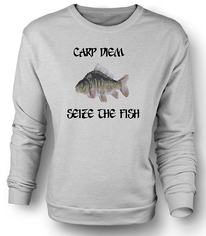 Mens Sweatshirt Carp Diem - Seize The Fish - Funny