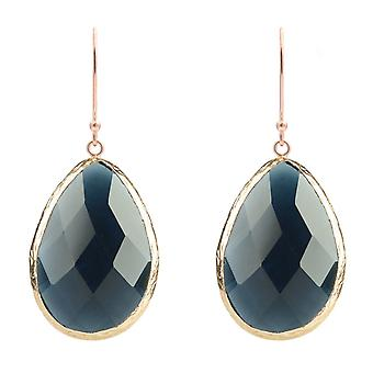 925 Silver Gemstone Dangle Drop Rose Gold Earrings Navy Dark Blue Sapphire Hook
