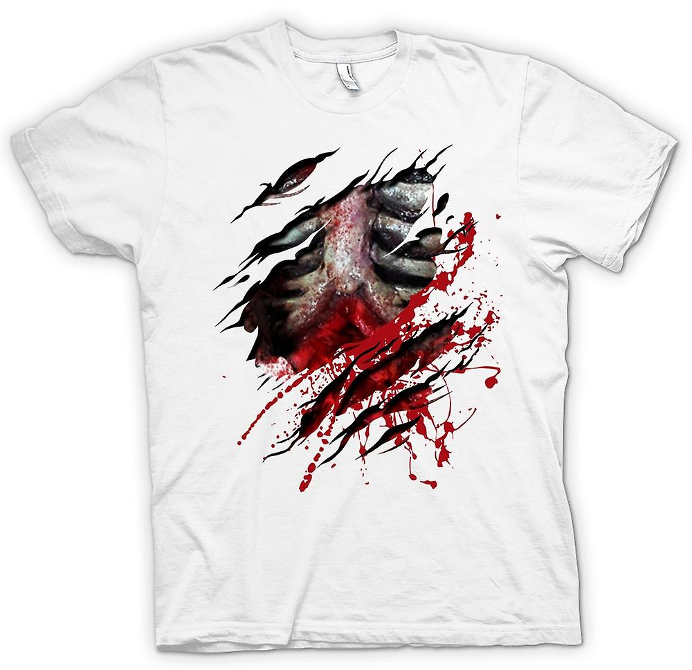Womens T-shirt-Zombie Walking tot Rippen und Guts Riss Design