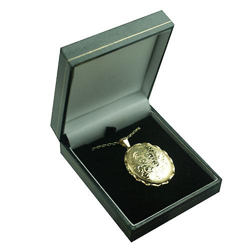 9ct Gold 37x28mm oval hand engraved fancy wire edge Locket with a belcher Chain 16 inches Only Suitable for Children